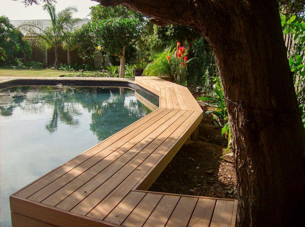 Balau walkway around pool